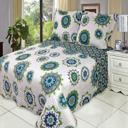 Julia Cool Twin Xl Size, Over-Sized Quilt 2Pc Set, Luxury Microfiber Printed Coverlet By Sheetsnthings