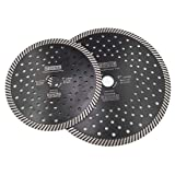 DT-DIATOOL Narrow Turbo Diamond Blade with Multi Hole for Granite Marble Block Diameter 7 Inch 9 Inch Pack of 2 (Color: Black, Tamaño: 7 inch and 9 inch)