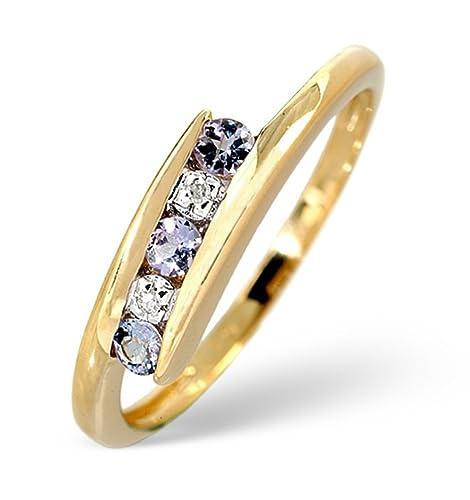 TheDiamondStore | Tension Set Ring - Tanzanites & Diamond - 9K Gold