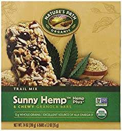 Nature\'s Path Organic 6 Chewy Granola Bars,Sunny Hemp Plus, 6-Count Boxes 7.4 Ounces, (Pack of 6)