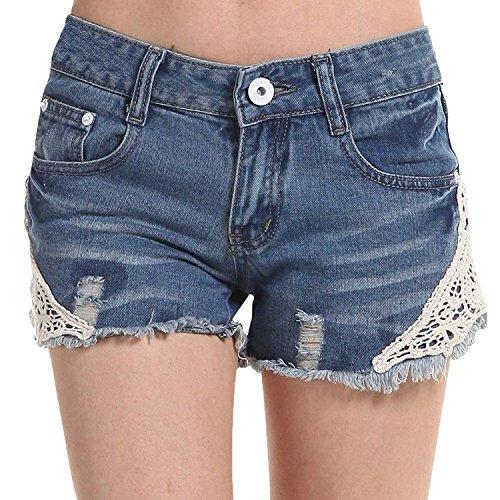 Minetom Donne Ragazze Moda Estate Pantaloncini Jeans Sexy Mini Pantaloncini Foro Jeans Pantaloni Con Floreale Pizzo Blu 38