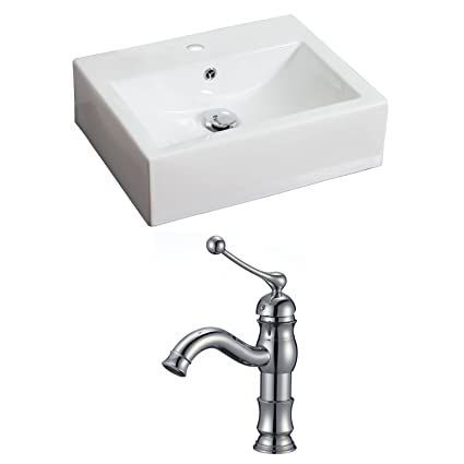 "American Imaginations AI-15048 Rectangle Vessel Set with Single Hole CUPC Faucet, 20.5"" x 16"", White"