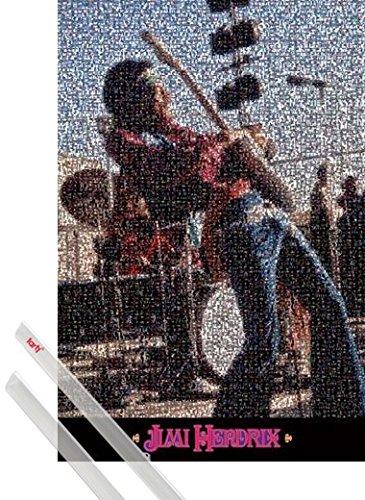 Poster + Sospensione : Jimi Hendrix Poster Stampa (91x61 cm) Live, Mosaic E Coppia Di Barre Porta Poster Trasparente 1art1®