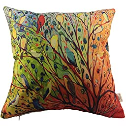 HOSL Cotton Linen Pillow Cover Decor Throw Pillow Case Cushion Cover Colorful Birds and Tree Square 18