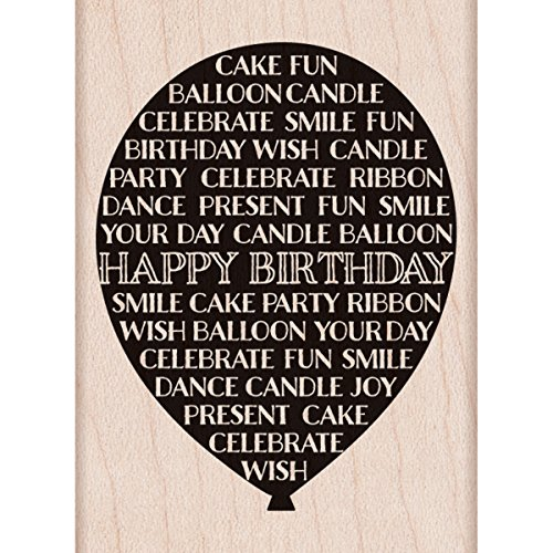 "Hero Arts Balloon Happy Birthday Mounted Rubber Stamp, 2.75"" by 2"" - 1"