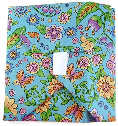Wrap-N-Mat Reusable Snack Pouch & Placemat~Spring Flowers~Made In Usa