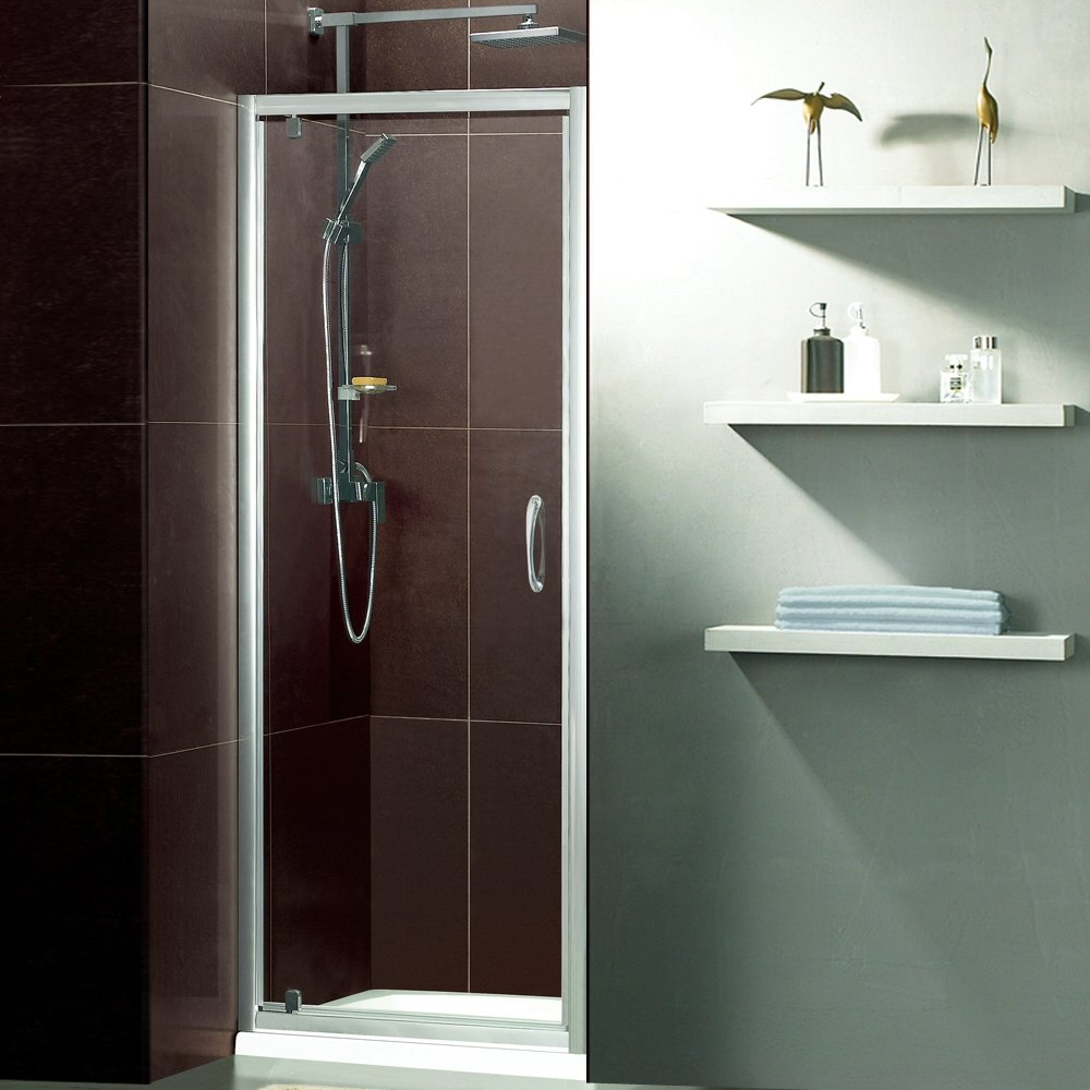 Trueshopping Feint Pivot Bathroom Reversible Shower Door With 5mm Toughened Safety Glass 1850mm High and Satin Silver Frame For Enclosure Recess Walk In Cubicle   Lifetime Guarantee   All Sizes Available! 900mm       Customer review and more news