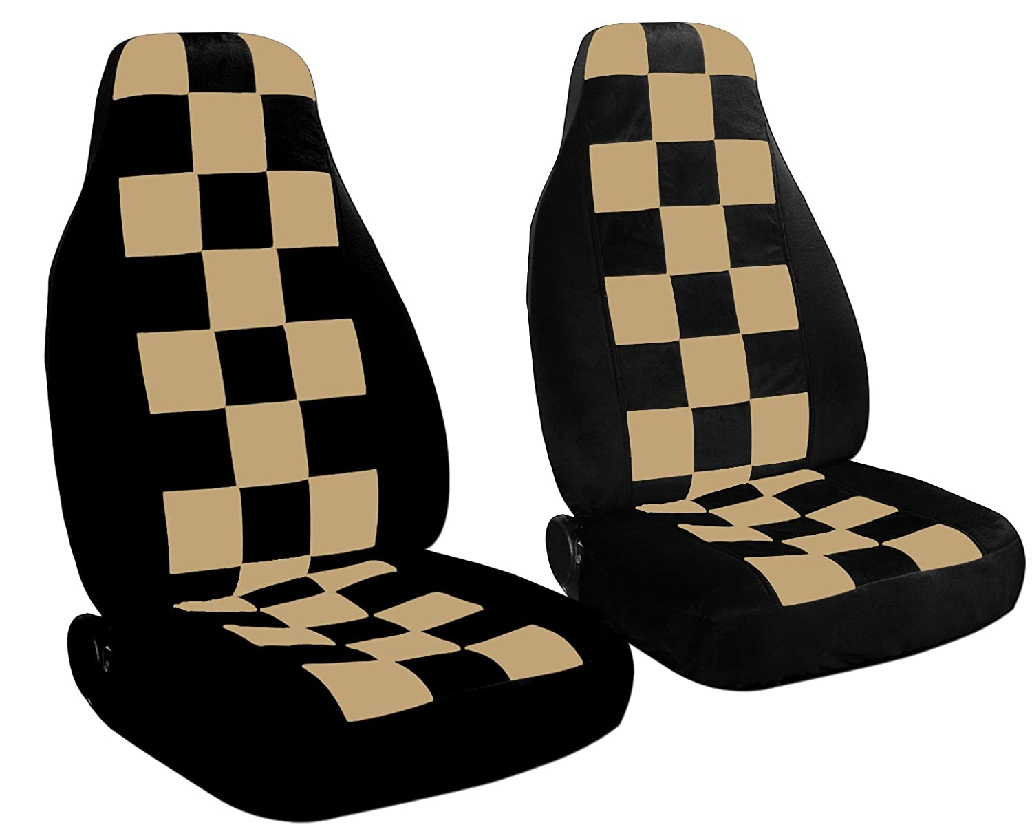 2 Black and Tan Checkered seat covers for a 2010 to 2013 Chevrolet Equinox. Side airbag friendly. 2 black and tan checkered seat covers for a 2010 to 2013 chevrolet equinox side airbag friendly