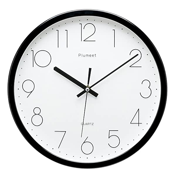 Upgrade Version Plumeet 12 Inch Non Ticking Silent Wall Clock With