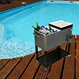 HIO 73 Qt Outdoor Patio Cooler Table On Wheels, with Shelf, Grey