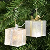 """Set of 6 Color Changing 2"""" Square LED Gift Box Indoor Tree Ornaments"""
