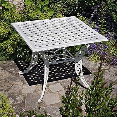 Weißes Lucy 91cm Quadratisches Gartenmöbelset Aluminium - 1 Weißer LUCY Tisch + 4 Weiße APRIL Stühle von Lazy Susan bei Gartenmöbel von Du und Dein Garten