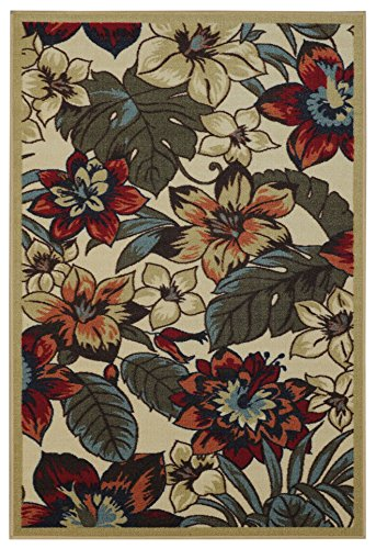 Rubber Back Ivory Multicolor Floral Garden Non-Slip (Non-Skid) Area Rug 3
