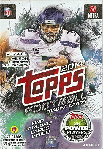 2014 Topps NFL Football Exclusive HUGE Factory Sealed Hanger Box with 72 Cards including 14 ROOKIE Cards! Look for RC's and Autographs of Johnny Manziel,Blake Bortles,Teddy Bridgewater and Many More !