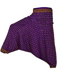 Rajsthani Mandala Hand Block Print Peacock Alibaba Afghani Trouser - B06XT6F9BR
