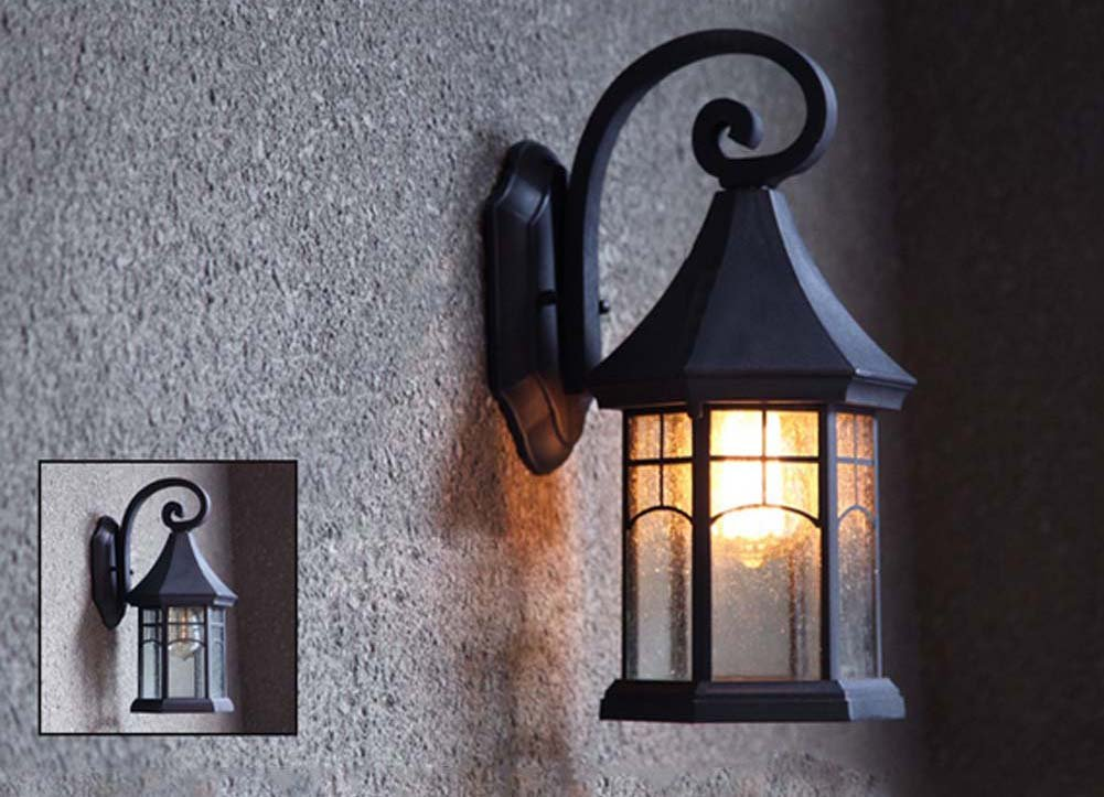 BAYCHEER HL409901 Industrial Retro Style Aged Pewter Brushed waterproof Outdoor Wall Light Wall Sconce with 1 Light 4