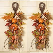Set of 2 Pumpkin - Gourd Swags Fall Door Swags