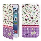 Sophia Shop iPhone 6 6G 4.7 Case, Ultra Slim Magnetic Stand Smart Cover Case, Scratchproof Dustproof Flower Pattern Floral Style Premium Pu Leather Flip Protective Skin Case Luxury Slim Brand Designer (Flower 1)