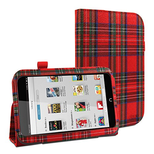 gmyler-folio-case-classic-for-barnes-noble-nook-hd-7-rot-royal-stewart-pattern-stoffe-cover-brieftas