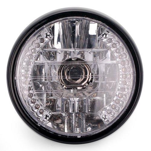 12V 26 Led 7'' Halogen Amber Halo Drl Blinker Turn Signal Head Light High Low Beam For Bobber Cruiser Street Bike