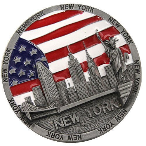 Metal Round New York Souvenir Fridge Magnet U.s.a Flag Statue of Liberty Empire State Building and Brooklyn Bridge Metal Colored Magnet (Metal) (Colored Fridge compare prices)