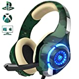 Gaming Headset for PS4 Xbox ONE PC, Beexcellent Stereo Sound Headphones with Noise Reduction Mic LED Light for Laptop, PC, Mac, iPad, Smartphones (Color: Camo, Tamaño: Camo)