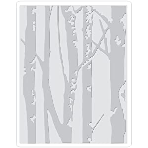 Sizzix 661405 Embossing Folder, Birch Trees by Tim Hotlz, Gray (Color: Gray)