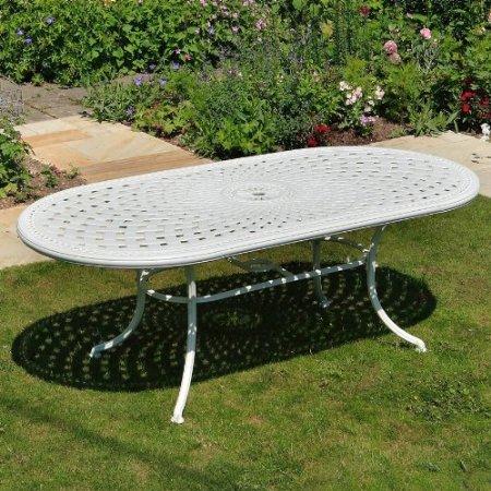 Weißes June 150 x 95cm Gartenmöbelset Aluminum – 1 Weißer JUNE Tisch + 6 Weiße ROSE Stühle kaufen