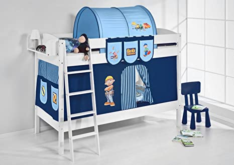 Lilo Kids letto a castello IDA 4105Bob der Baumeister-teilbares Sistema letto a soppalco-bianco-con tenda e reti a doghe