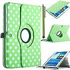 Galaxy Tab 3 Case, ULAK Galaxy Tab 3 10.1 Inch Case 360 Rotating PU Leather Folio Stand Case for Samsung Galaxy Tab 3 10.1 Inch/P5200/P5210 with Auto Sleep/Wake Function (Green Dot)