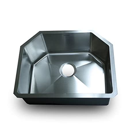 Nantucket Sinks SR2421-16 24-Inch Small Radius D-Bowl Stainless Steel Undermount Kitchen Sink
