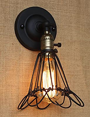 SSBY American Industrial-Style Decorative Wall Sconce Iron Mesh Fence