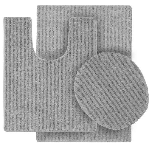 Garland Rug 3-Piece Sheridan Nylon Washable Bathroom Rug Set, Platinum Gray front-360896