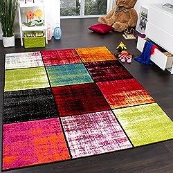 Teppich Kinderzimmer Karo Kinderteppich Mehrfarbig Meliert Rot Pink Grün Blau, Grösse:160x220 cm