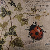 LINKWELL 45x45cm Seven-spotted Ladybug Ladybird insects Coccinella Septempunctata Green Leaf Linen Cushion Cover Pillow Case