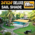MTN OutdoorGear 24'x24' Deluxe Square Sun Sail Shade (Sand) with Hardware from MTN OutdoorGear