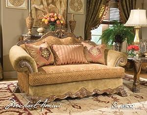 wood trim camelback sofa aico 60815