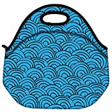 Snoogg Waves Background Travel Outdoor Carry Lunch Bag Picnic Tote Box Container Zip Out Removable Carry Lunchbox Handle Tote Lunch Bag Food Bag For School Work Office