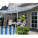LECO Vlexy Standard Terrassenüberdachung 3 x 4m Standmarkise Sonnenschutz Sonnensegel Venezia Blau gestreift