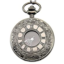 buy Sinceda Ancient Roman Numerals Black Pocket Watch With Chain
