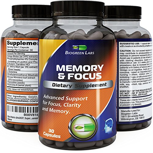 Telling Mind and Memory Supplement - Contains Pure Ginkgo Biloba, St. John's Wort, Bacopa Monniera and DMAE - USA Made by Biogreen Labs