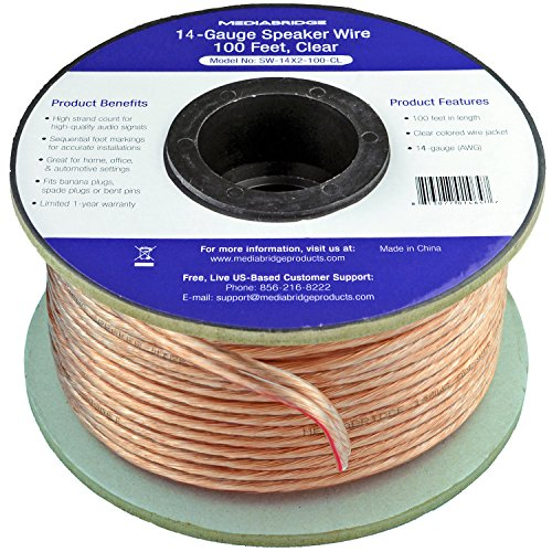Learn More About Mediabridge 14AWG Speaker Wire (100 Feet) - Spooled Design with Sequential Foot Mar...