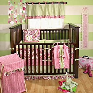 My Baby Sam Paisley Splash 4 Piece Crib Bedding Set, Pink