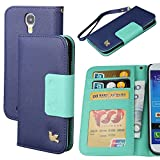 Galaxy S4 Case,By HiLDA,Wallet Case,PU Leather Case,Credit Card Holder,Flip Cover Skin,Case for Samsung Galaxy i9500[Blue]