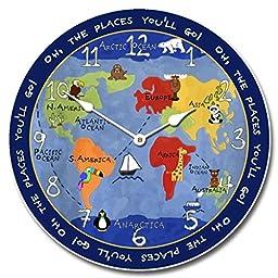 Kids World Map Wall Clock, 10\