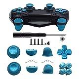 TOMSIN Metal Buttons for DualShock 4, Aluminum Metal Thumbsticks Analog Grip & Bullet Buttons & D-pad & L1 R1 L2 R2 Trigger for PS4 Controller Gen 1 (Blue) (Color: Blue)