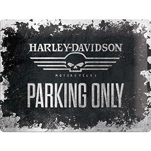 Nostalgic-Art 23173 Harley-Davidson Skull Parking Only, Blechschild, 30 x 40 cm