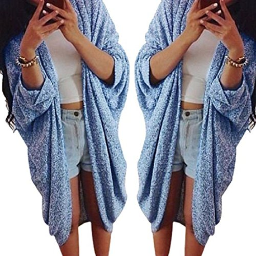 Cardigan,Laimeng Womens Lady Casual Oversized Knit Sleeve Sweater Coat Polyamide Cardigan Jacket (M, Blue) (Wool Sweater Figures compare prices)