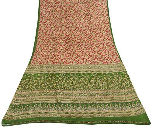 vintage-india-floral-imprime-100-saree-en-soie-rouge-pur-ethnique-sari-craft-tissu