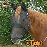 Cashel Nose Fly Mask with Long Nose and Ears for Horses, Black, Fly Protection